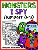Monsters I Spy Numbers 0-10.