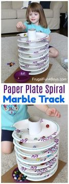 How to Build a Paper Plate Spiral Marble Track.
