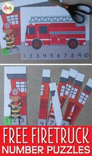 Free Fire Truck Printables - Preschool Number Puzzles.