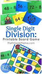 Single Digit Division Game for Grades 3-5.