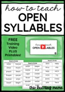 How to Teach Open Syllables.