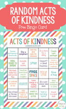 Random Acts of Kindness for Kids with Free Bingo Card.