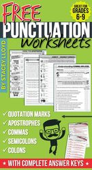5 Free Punctuation Worksheets.