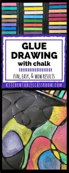 Glue Drawing with Chalk.
